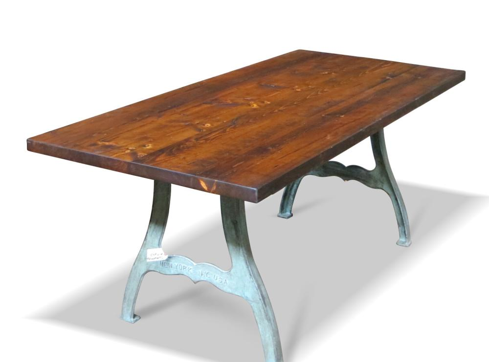 Steampunk Industrial Metal Legs Farm Table With Reclaimed Wood