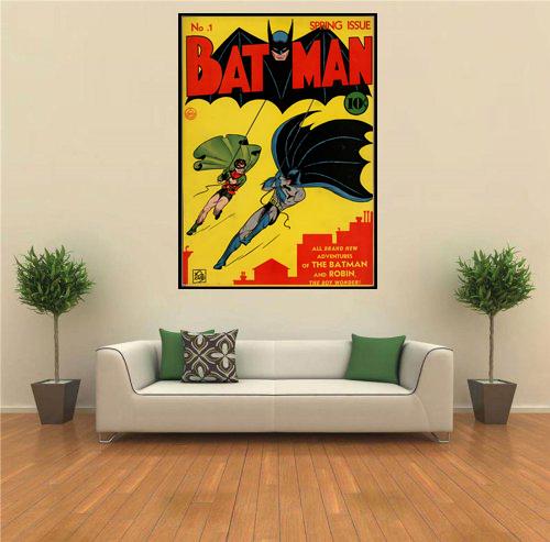 Batman Vintage Superhero Comic Book Poster Framed Wall Art
