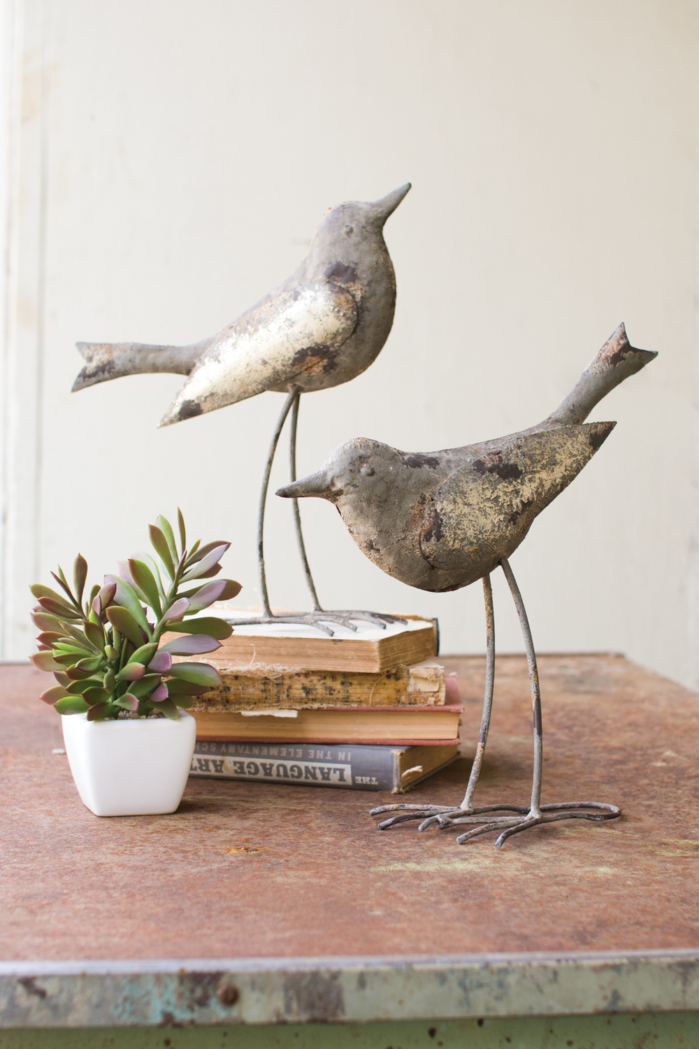 Rustic Grey Metal Bird Sculptures