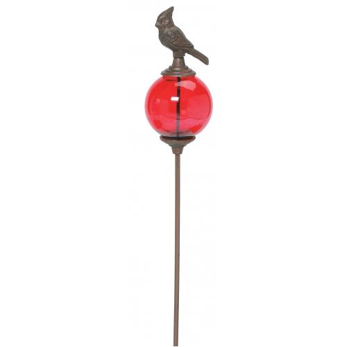 Ordinaire Glass Globe Cardinal Garden Stake