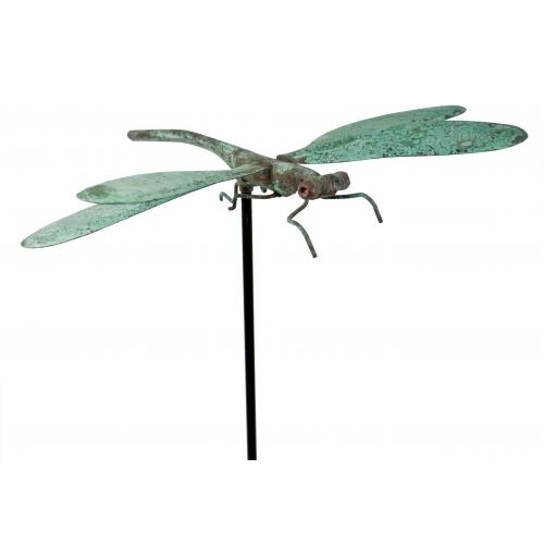 Superb Copper Verdigris Dragonfly Garden Stake