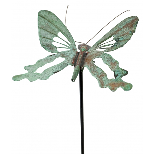 Charming Copper Verdigris Butterfly Garden Stake