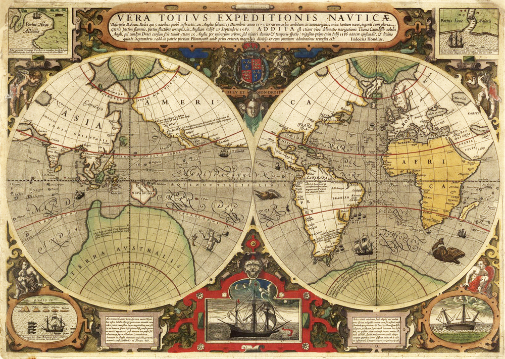 1595 Antique Old World Map