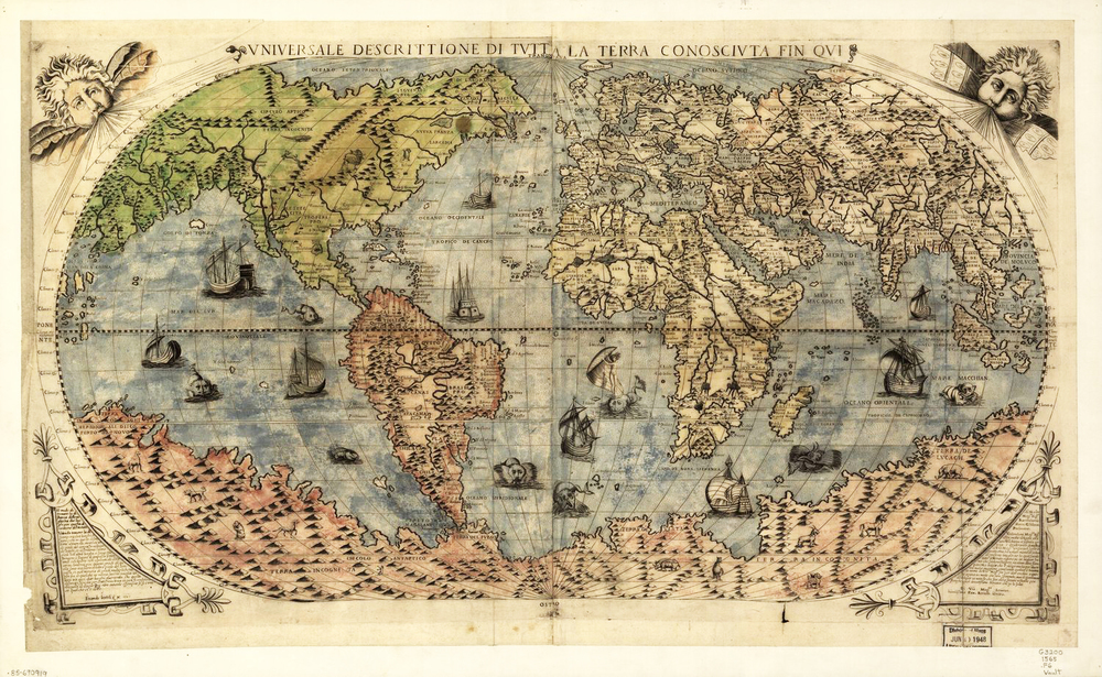 1565 antique world map print with sea monsters museum outlets gumiabroncs Choice Image