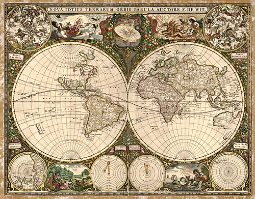 1660 Old World Antique Map Museum Outlets