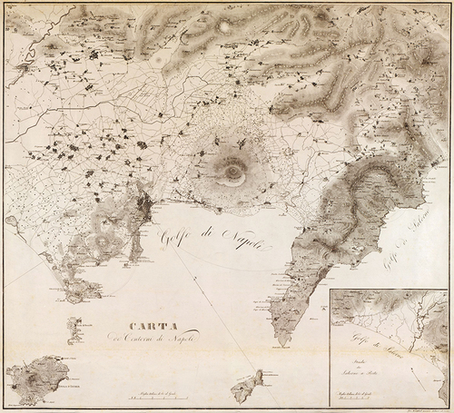 1828 Gulf of Naples Italy Antique Map — MUSEUM OUTLETS