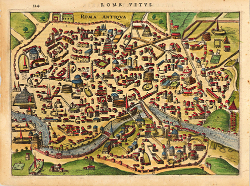 1627 Rome Italy Antique Map