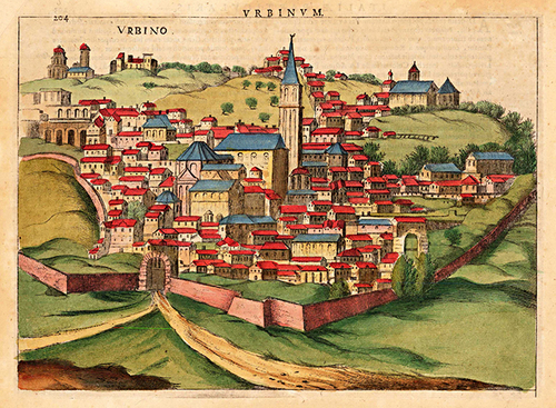1627 Urbino Italy Antique Map Museum Outlets