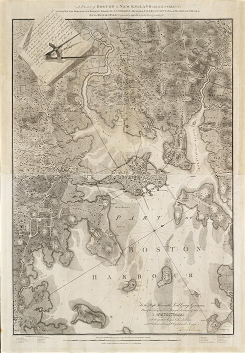 Antique Boston Map.1777 Antique Boston Massachusetts Map Museum Outlets