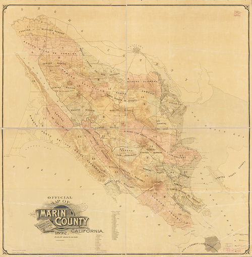 1892 Marin County Antique California Map Museum Outlets