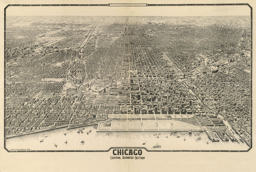 1916 Antique Chicago Map — MUSEUM OUTLETS