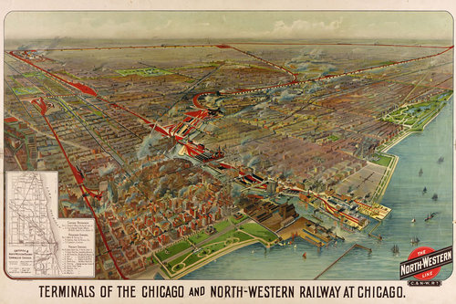 Rail Terminals Antique Chicago Map — MUSEUM OUTLETS
