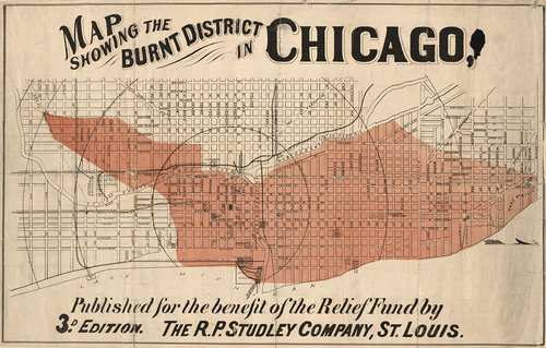 Antique Chicago Map Fire Burnt District — MUSEUM OUTLETS