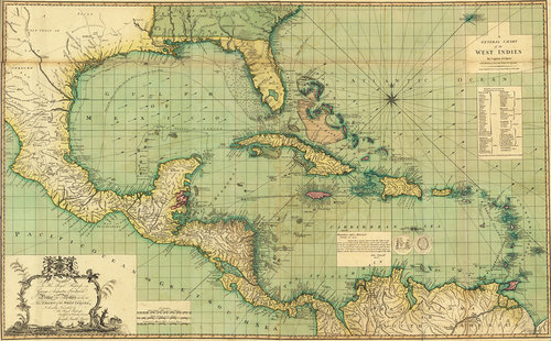 West Indies Antique Caribbean Map — MUSEUM OUTLETS
