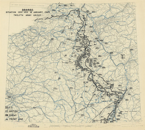 WW Army Situation Antique Military Map MUSEUM OUTLETS - Us army travel map