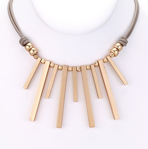Well known taupe leather with matte gold statement necklace — MUSEUM OUTLETS AP01