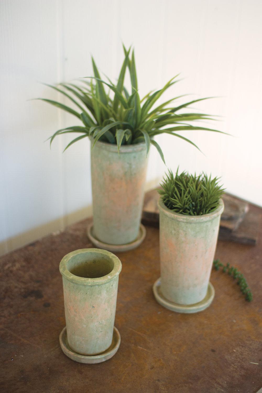 Mossy Green Ceramic Garden Pots