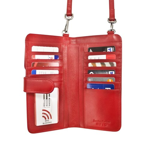 39f590e84318 red leather smartphone crossbody wallet