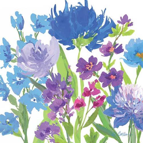 blue purple flowers decorative paper napkins