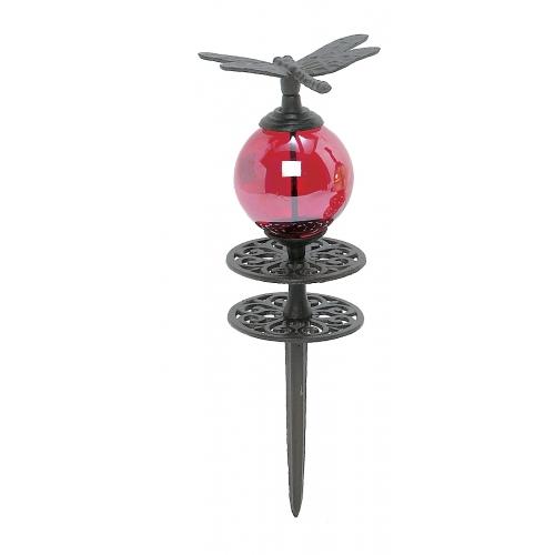 Glass Globe Dragonfly Hose Guide Stake