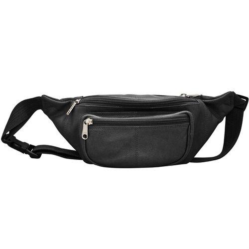 black leather belt bag or fanny pack — MUSEUM OUTLETS