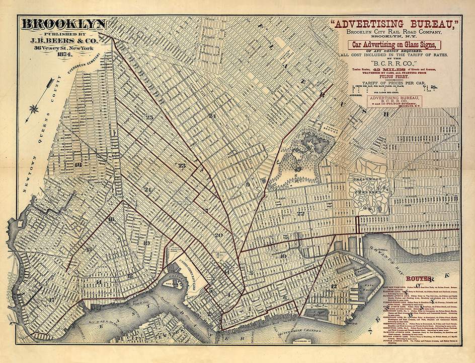 Antique Map of Brooklyn Streets 1874 Vintage New York Wall Art