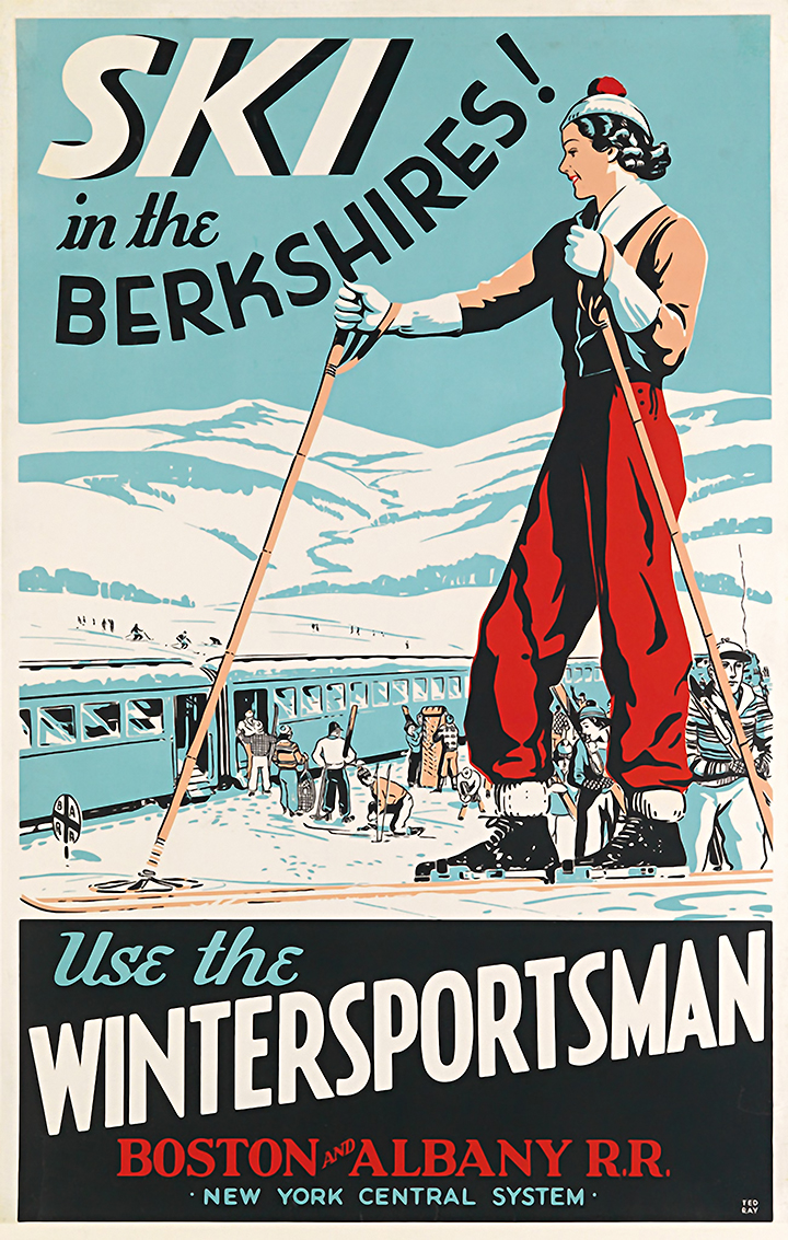 Ski The Berkshires Ma Vintage Ski Poster Art Museum Outlets