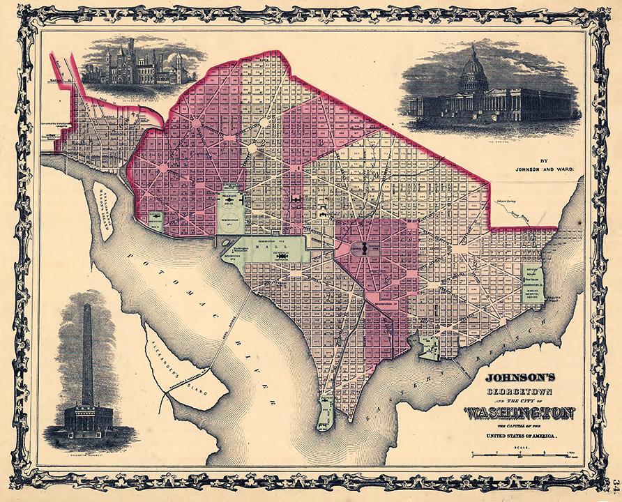 "22/"" x 24/"" 1862 Map Of Original District Of Columbia Washington"