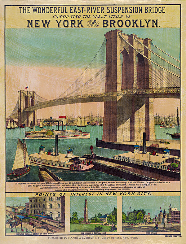 New York-Brooklyn Suspension Bridge Vintage Travel Posters Unique Wall Art  — MUSEUM OUTLETS