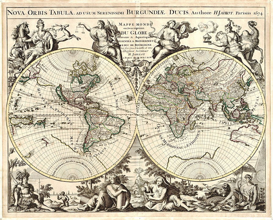 picture regarding Vintage World Map Printable identified as 1694 Environment Antique Entire world Map Print MUSEUM Suppliers