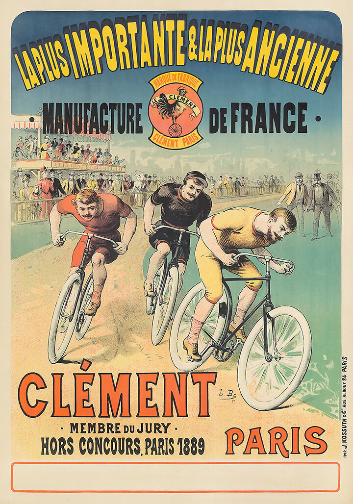 Clement Paris Vintage Bicycle Racing Poster Museum Outlets