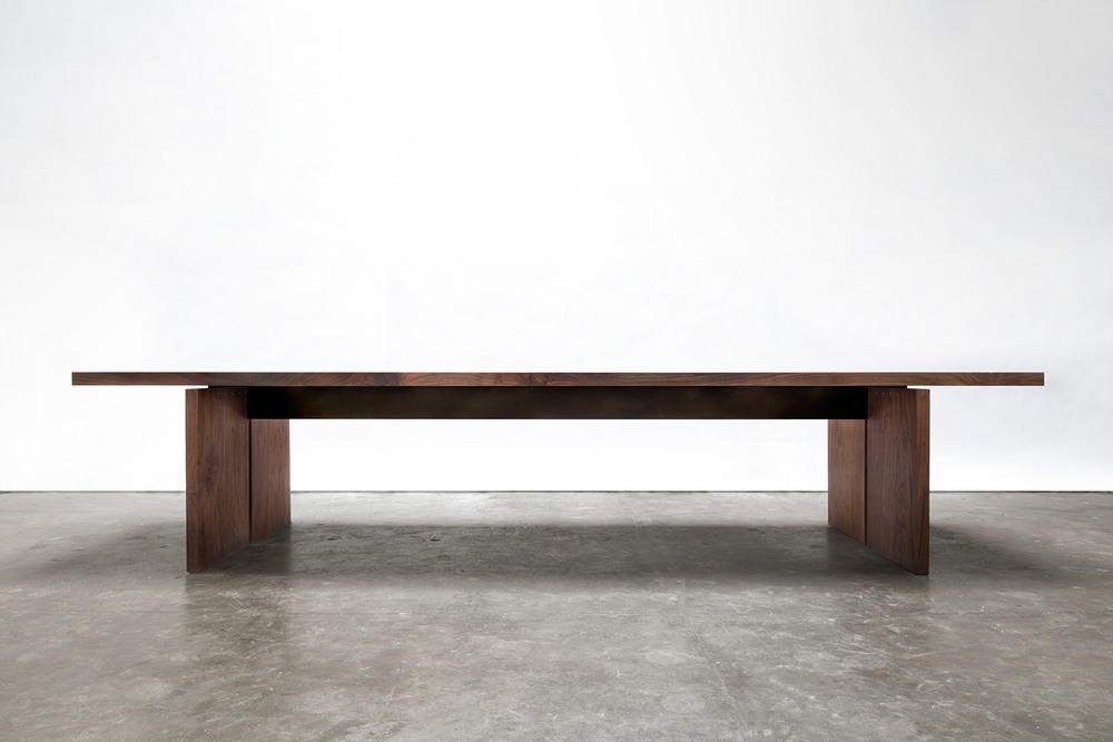walnut + steel dining table