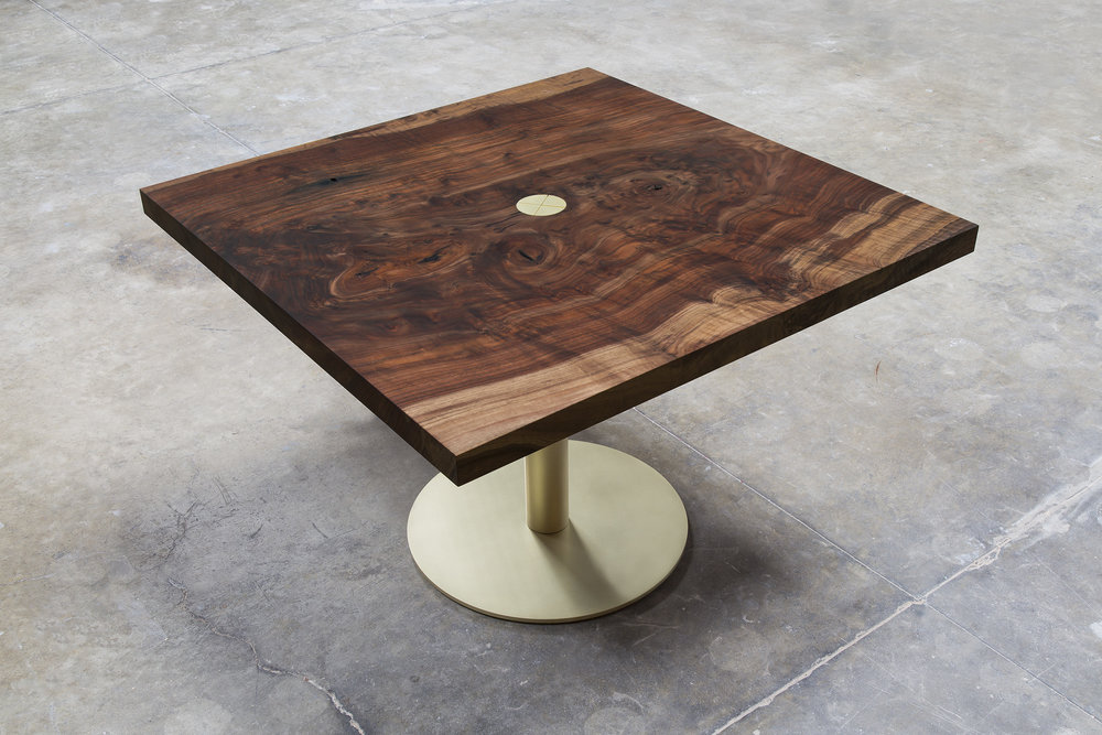 walnut + brass breakfast table