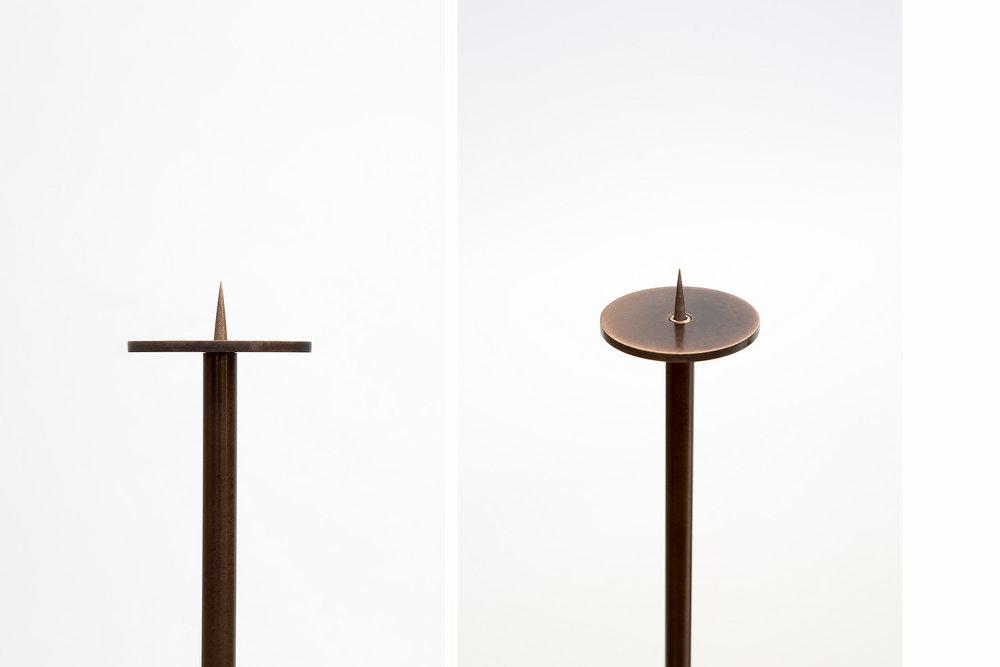 steel + bronze candelabra