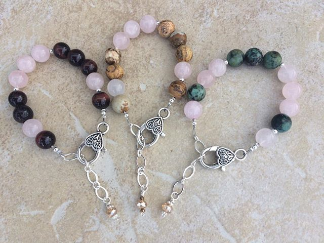 "Sneak peak for Circle of Stones Jewelry Trunk Show. These are my new ""Love in Code"" gemstone bracelets that say ""love"" in Morse."