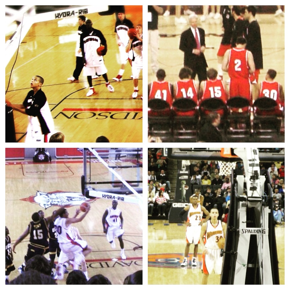 Top left: December 2006 vs. Elon; top right: March 2008 Elite Eight vs. Kansas; bottom left: February 2009 vs. UNCG; bottom right: March 2010 at his first NBA game in Charlotte.