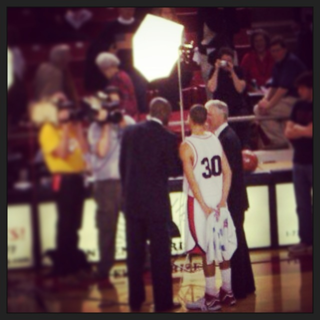 Stephen and Coach McKillop being interviewed after our win against UNCG, February 3, 2007.