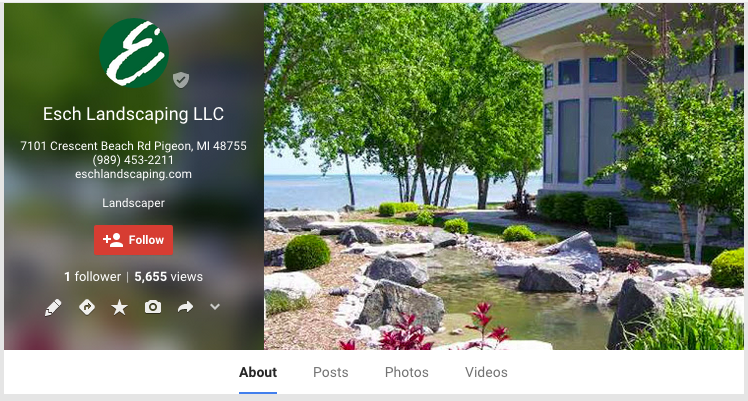 Esch Landscaping Google Business Profile