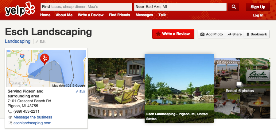 Esch Landscaping Yelp Profile Page