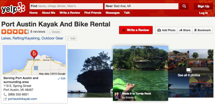 Port Austin Kayak Yelp Profile