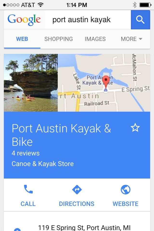Port Austin Kayak Google My Business Mobile Search
