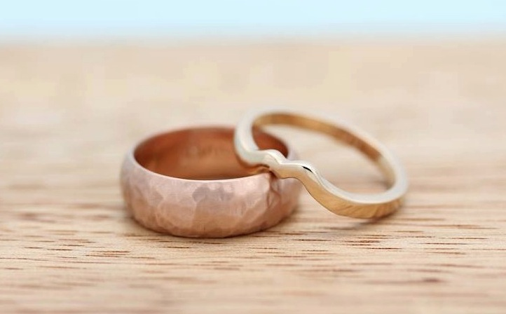 Hand carved by Laura and Scott. his: brushed rose gold, hers: polished peach gold.