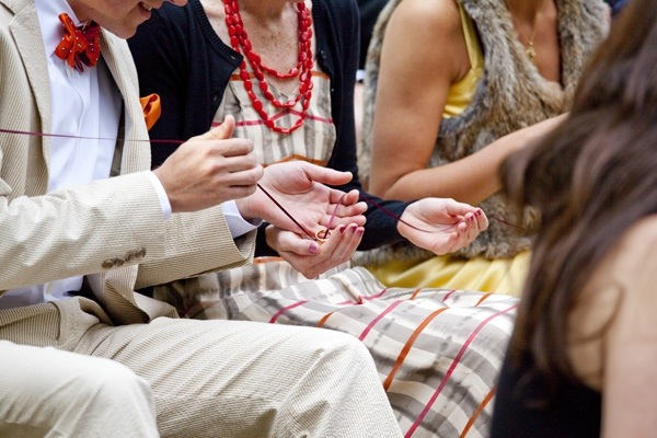then as part of your ceremony you can have someone introduce the ring warming and start the rings on their voyage through your sea of guests - Wedding Ring Ceremony