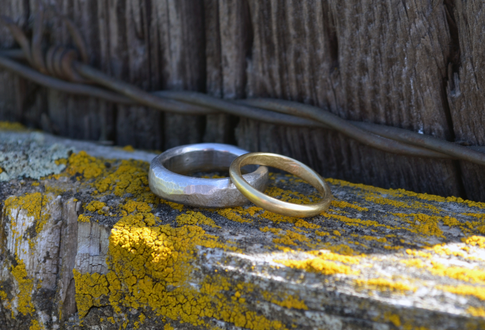 Rings by Tim & Tia: Hand carved organic textures in palladium and 18k yellow gold.