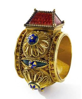 jewish marriage ring gold and enamel 18th century - Hebrew Wedding Rings