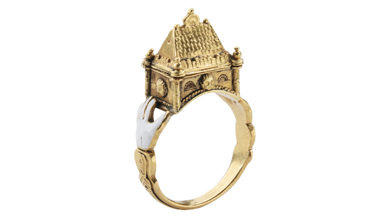 Jewish Marriage Ring, Gold and enamel, 17th century