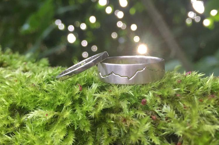 PNW Mountain Range Wedding Rings