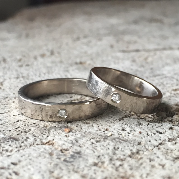 handmade-palladium white gold flush set diamond wedding rings