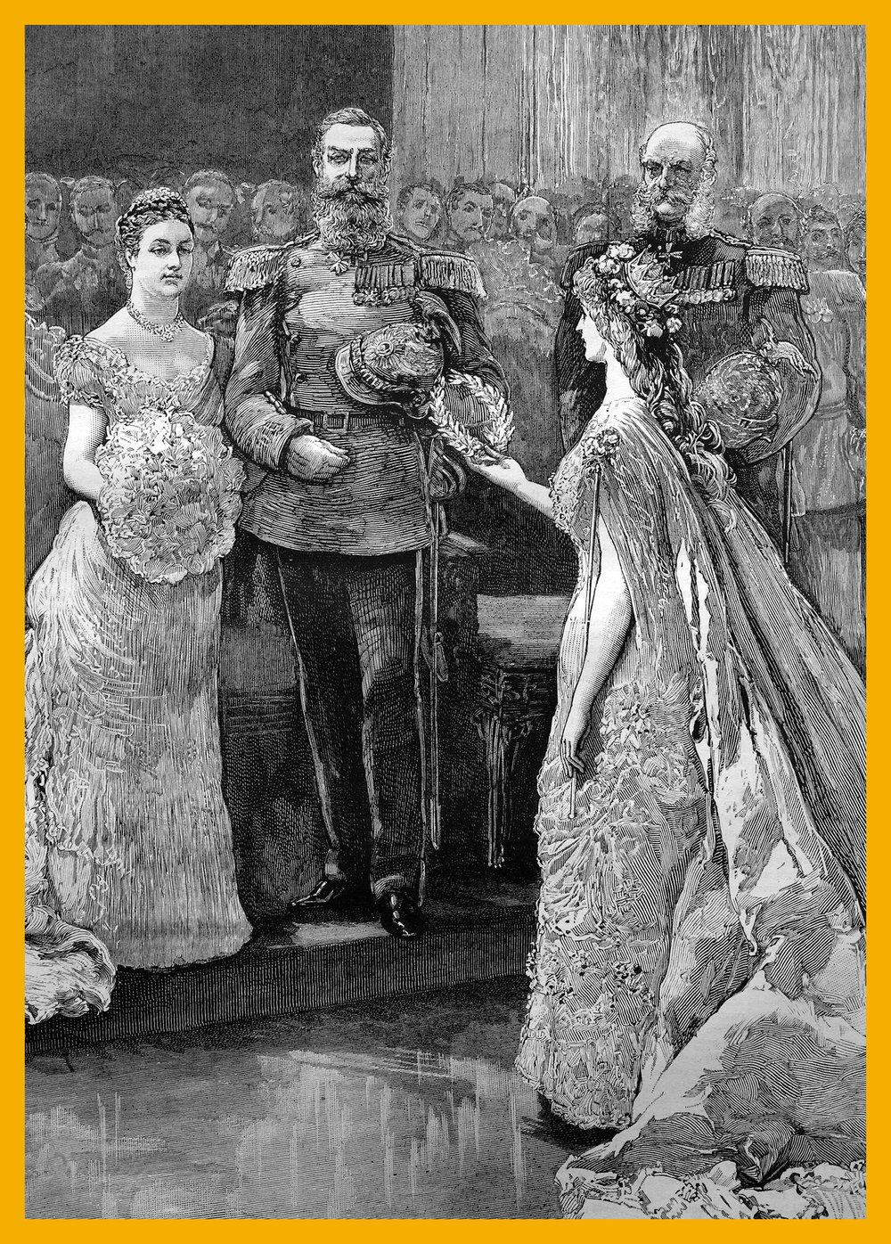 "The silver wedding of the imperial prince and princess of Germany, the koenigin minne"" or ""queen of love"" presenting a silver wreath to the imperial princess, historical illustration, 1884. Bildagentur-online/uig via Getty Images"