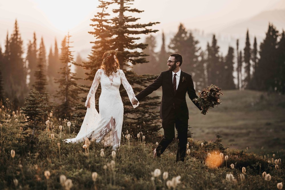 Couple: Cory & Brian, August 2018 Elopement at Mt. Rainier National Park. Photographers:  Athena and Camron